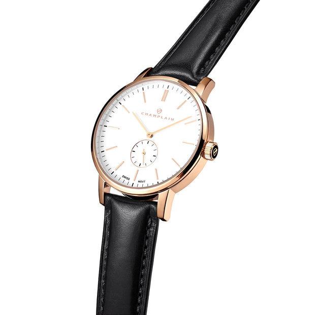 Rose Gold/White - Black Governor Watch by Champlain