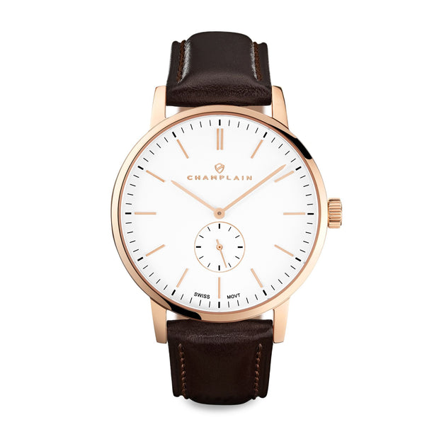Rose Gold/White - Brown Governor Watch by Champlain