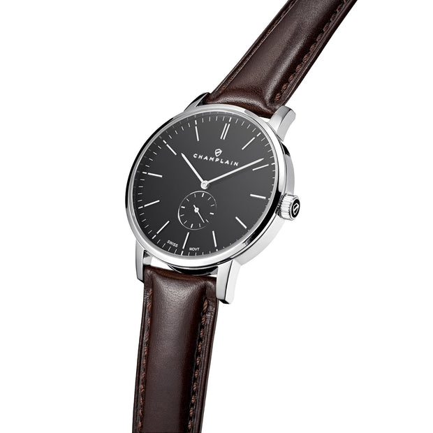 Silver/Black - Brown Governor Watch by Champlain