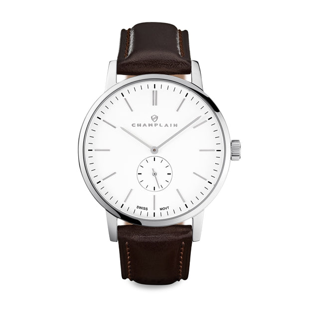 Silver/White - Brown Governor Watch by Champlain