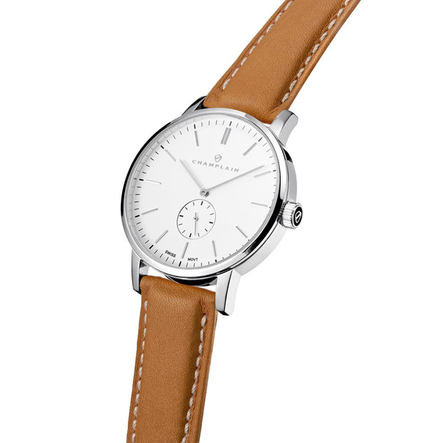 Silver/White - Tan Governor Watch by Champlain