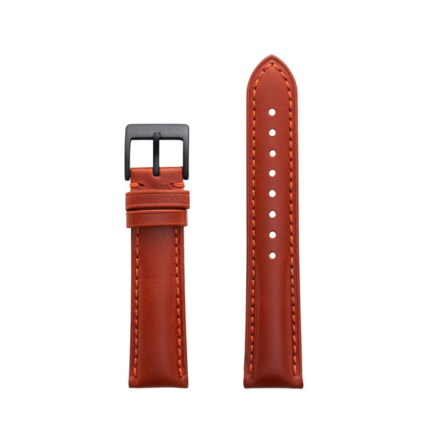Fox-Black Leather Watch Strap by Champlain