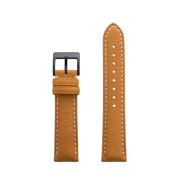 Tan-Black Leather Watch Strap by Champlain