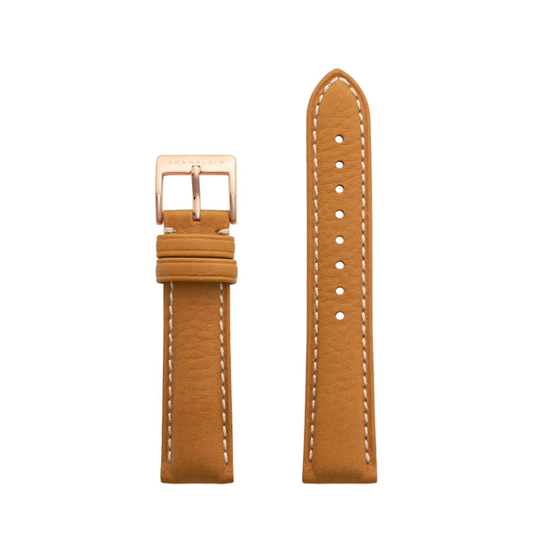 Tan-Rose Gold Leather Watch Strap by Champlain