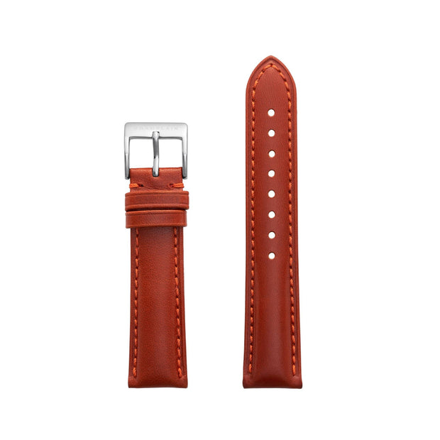 Fox-Silver Leather Watch Strap by Champlain