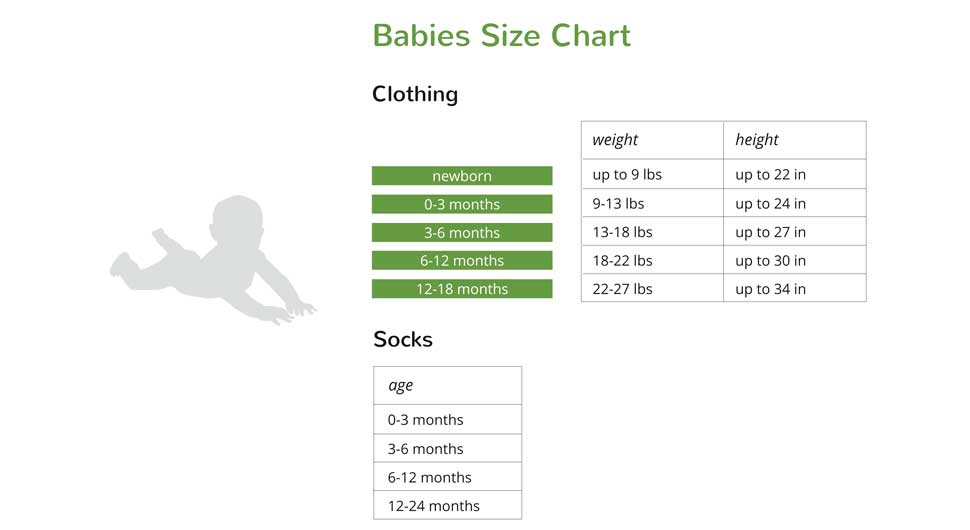 Boody Baby Size Chart