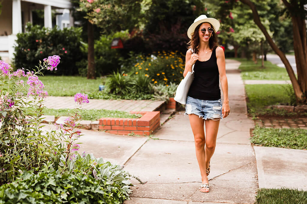 Black Bamboo Tank Top from Boody out for a peaceful stroll