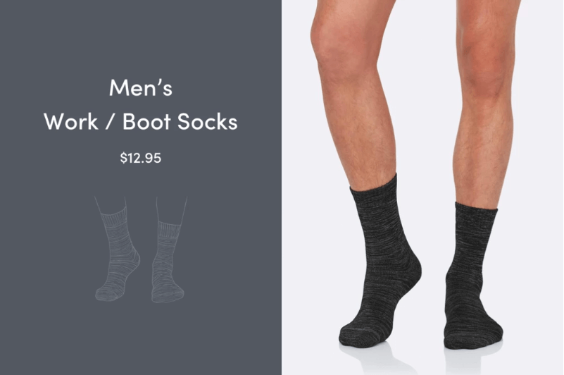 Man in black bamboo work boot socks