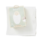 Boody Baby Bamboo Chalk White Muslin Wrap Swaddling Blanket in Packaging