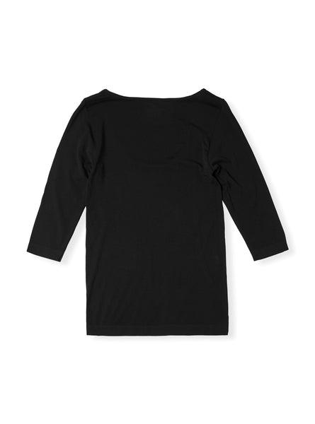 Boody Bamboo Womens Scoop Top in Black Flat Lay