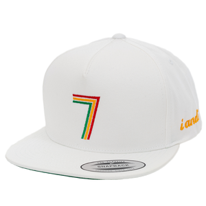 Rasta Fiya 7 i and i Embroidered Flatbill Snapback Hat - White