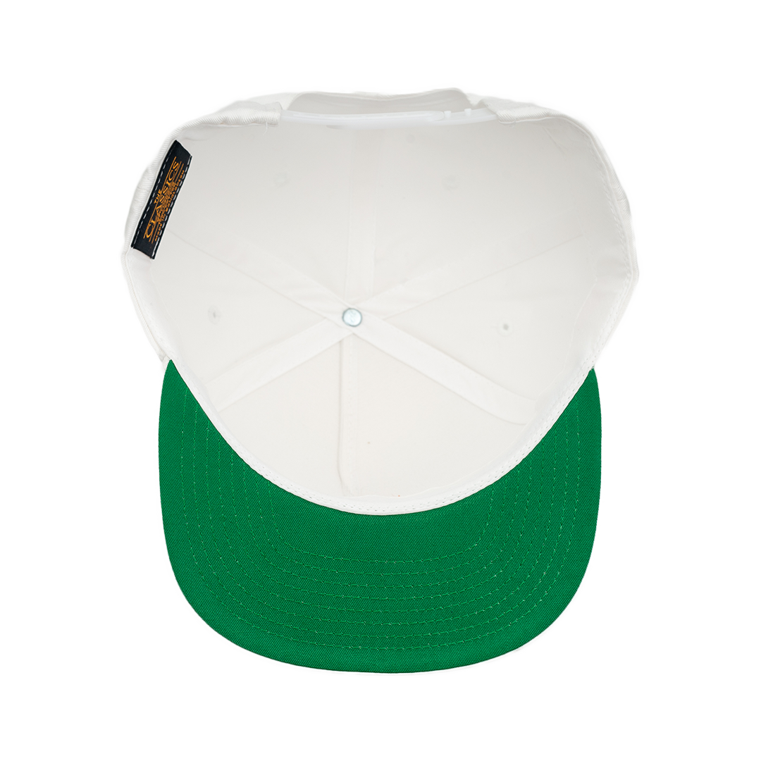 7 i and i Rasta Fiya Embroidered Flatbill Snapback Hat - White