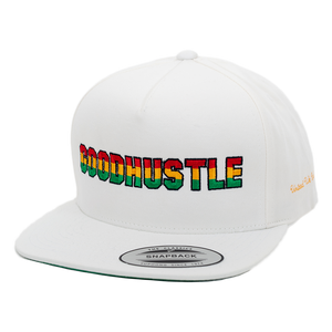 Rasta Fiya GOODHUSTLE Embroidered Flatbill Snapback Hat - White