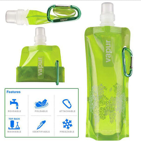 Collapsible Water Bottle Bag with Carabiner Clip