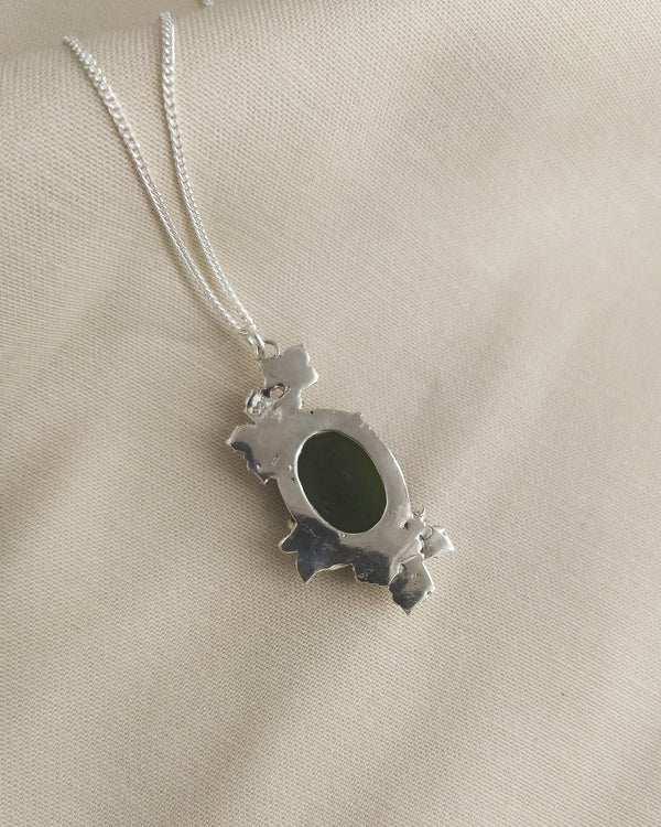 Scattered Leaves pendant with Jade