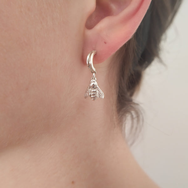 Bee drop earrings | Silver