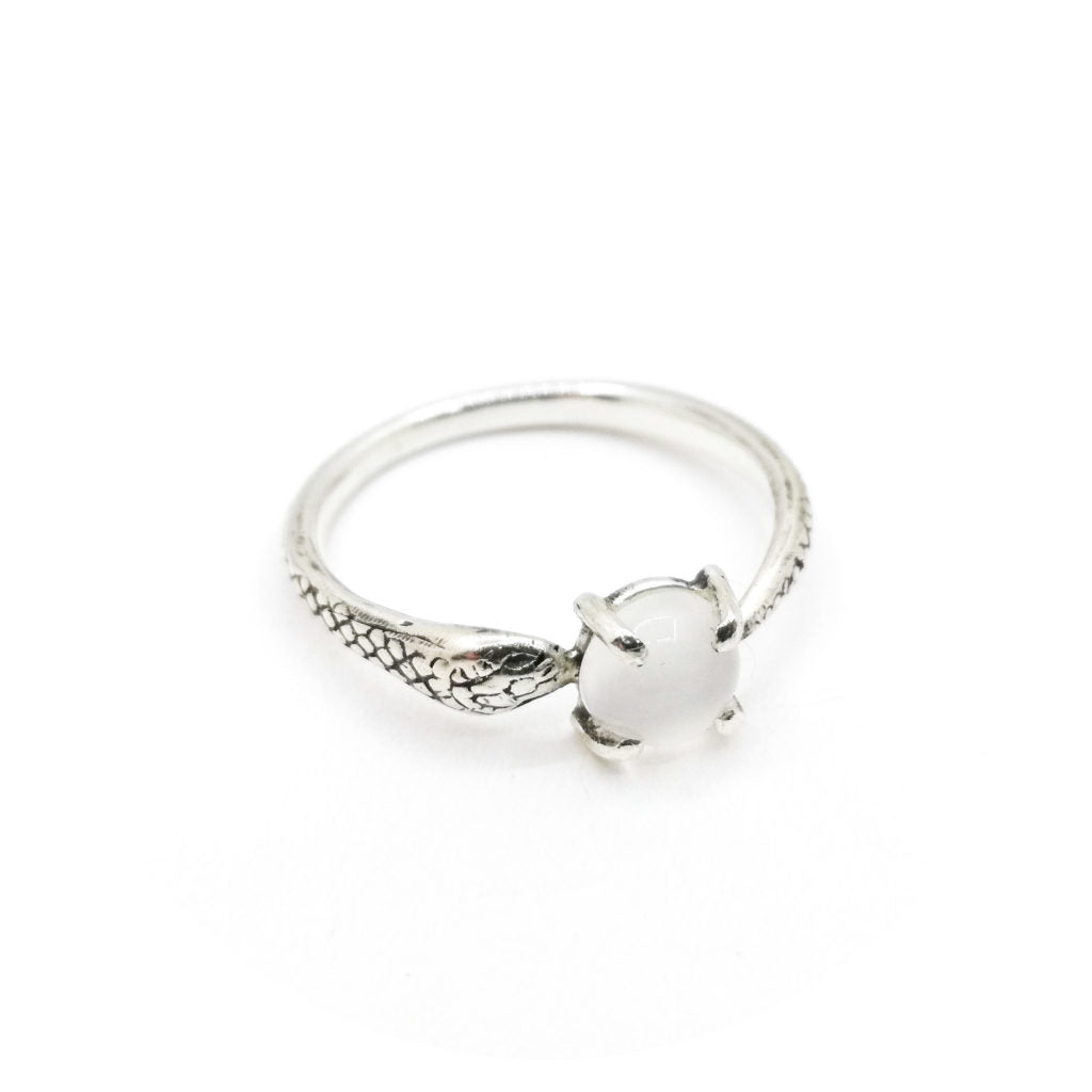 Snake Ring with Moonstone (made to order)
