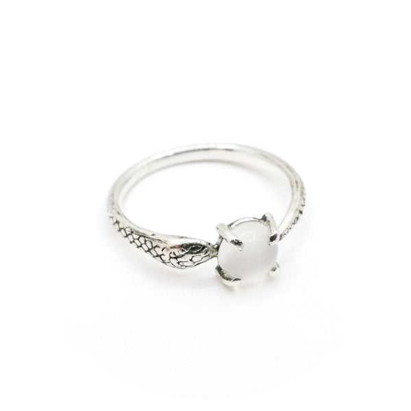 Snake Ring with Moonstone | Silver
