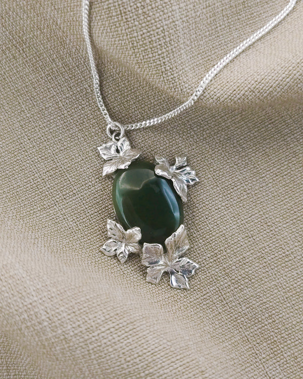 Autumn leaves pendant with Jade