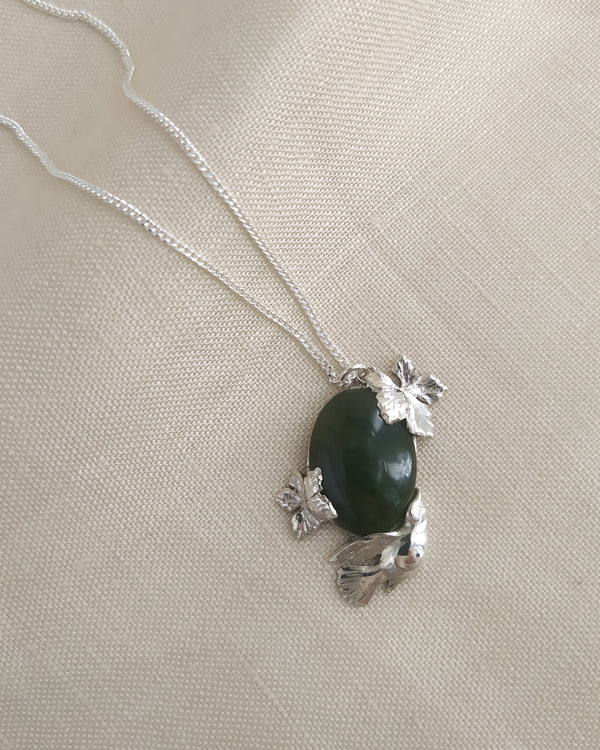 Widow bird pendant with Jade
