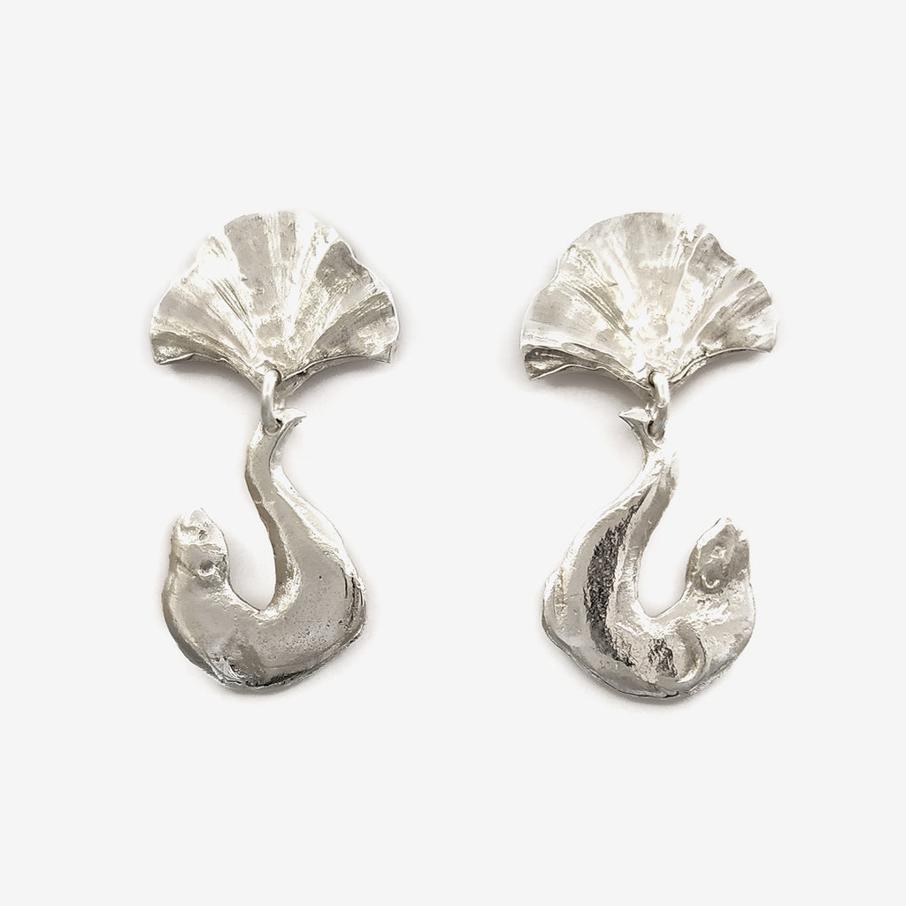 Diving Otter Earrings | Silver