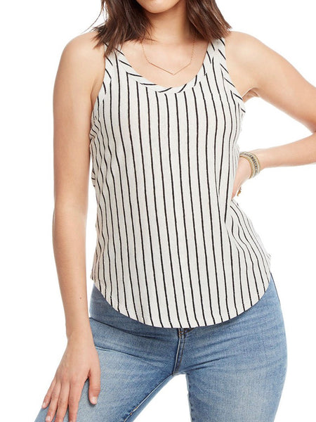 Chaser Linen Double Scoop Shirttail Tank
