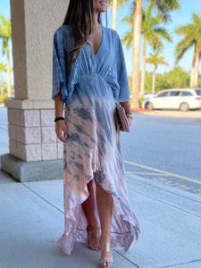 Wonderland Hi-Lo Ruffle Maxi Dress