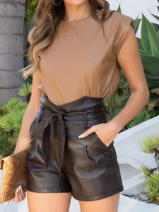 Highrise Paperbag Faux Leather Shorts