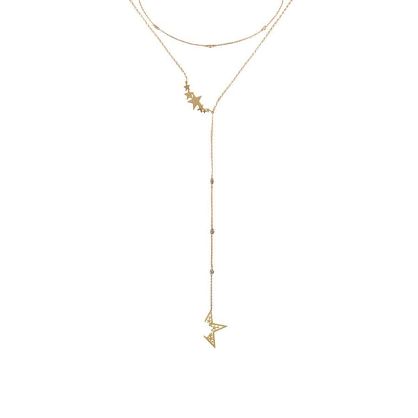 Nova Lariat Gold Necklace