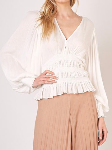 Noel Smock Bell Sleeve Top