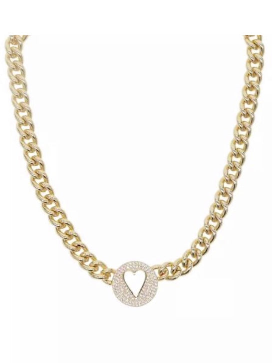 Sahira Pave  Heart Necklace/Choker