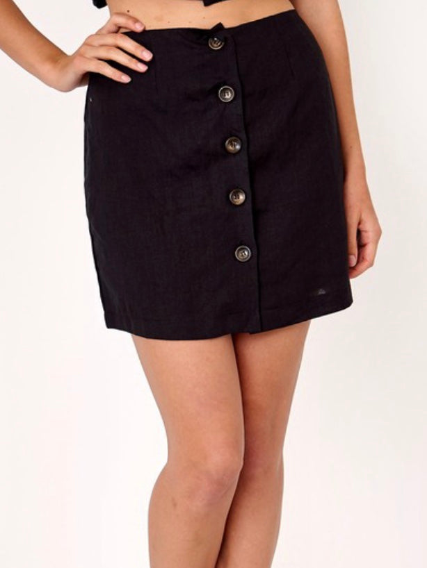 Cara Button Detail Mini Skirt