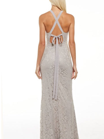 Lacey Strappy Tie Back Gown