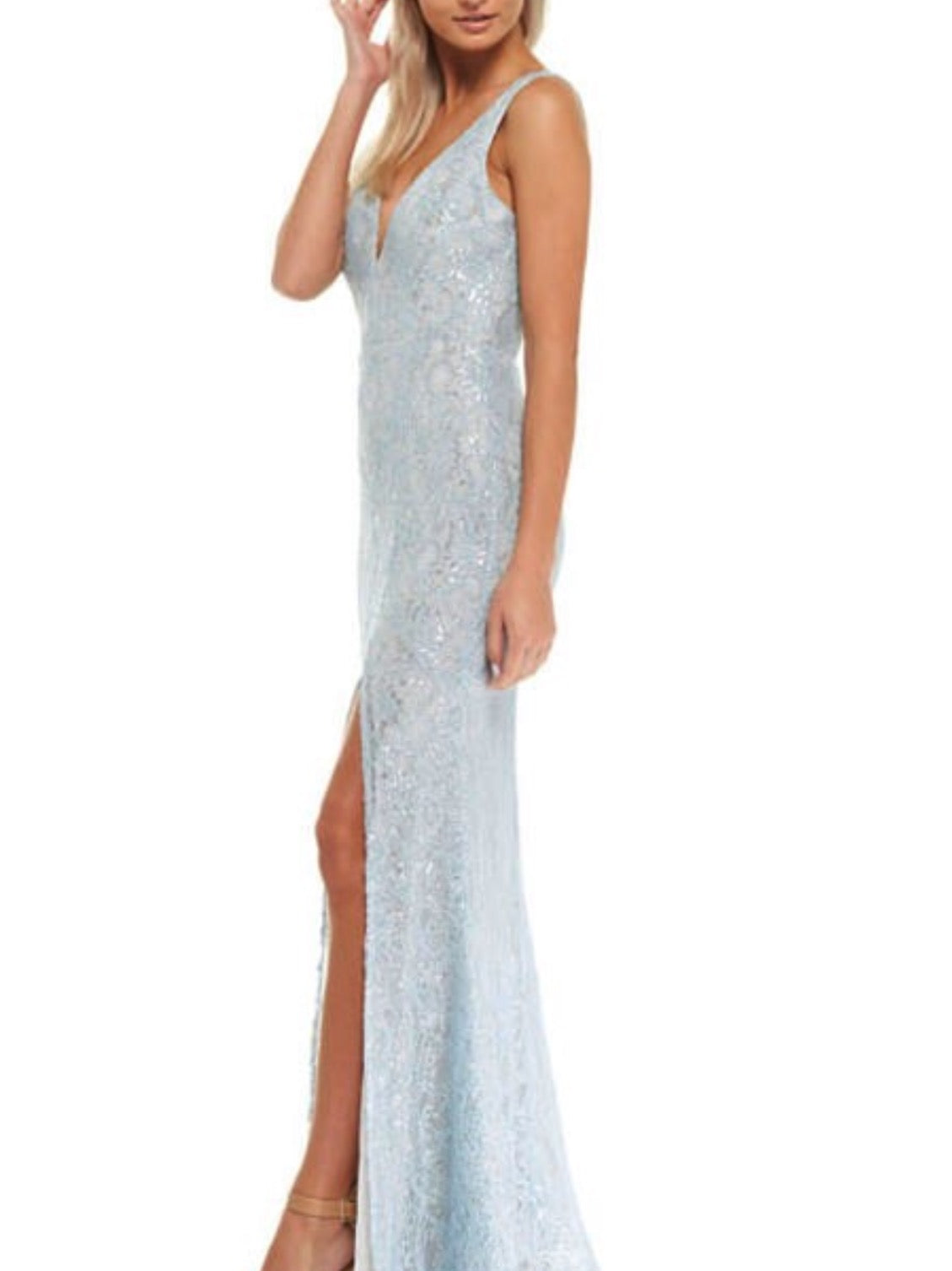 Deep V Shimmer Lace Gown