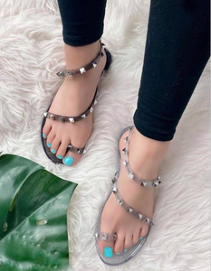 Jonie Toe Ring Studded Slides