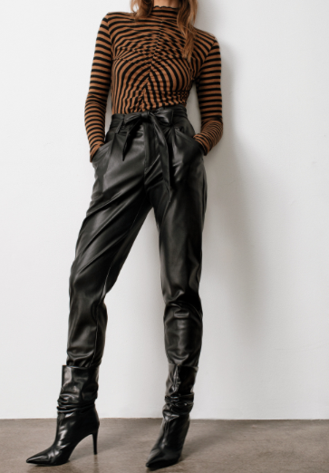 Morgan Paperbag Faux Leather Pants