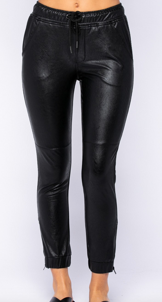 Jada Faux Leather Joggers