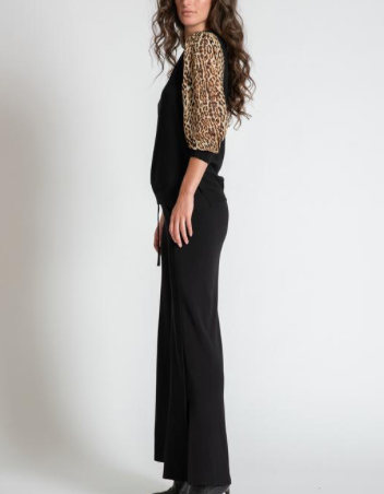 Jessi Sheer Leopard Sleeve Sweater