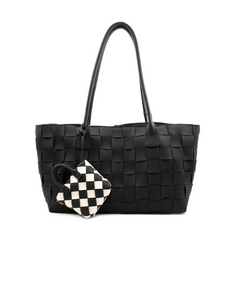 Woven Leather Like Tote