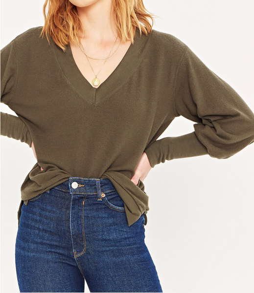 Social Project Deep V Long Cuff Sweater