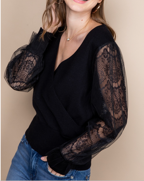 Rita Lace Sleeve Sweater