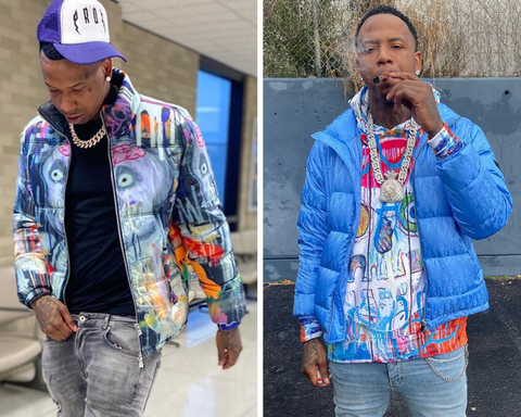 RAPPER MONEYBAGG YO WEARING TANGO HOTEL PUFFER JACKET AND HOODIE