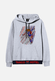 wearable art tango hotel purple skull drip hoodie