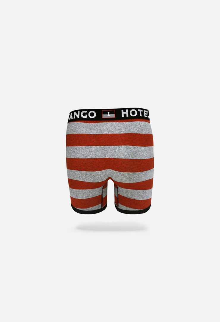 Red Rugby Stripes Classic Boxer Brief Back View