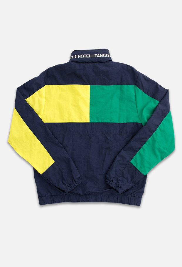 Triblock Track Navy/Green Jacket Back View