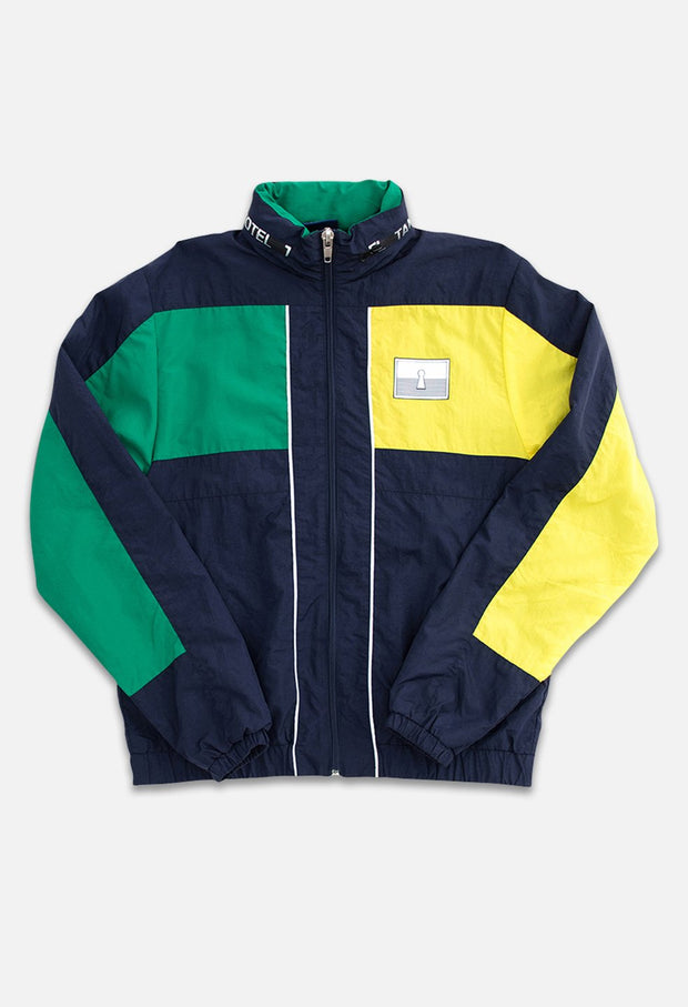 Triblock Track Navy/Green Jacket Front View