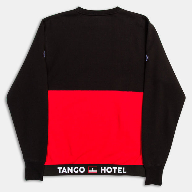 Tango Hotel Red Black Motorcross Colorblock Crew Neck Sweatshirt