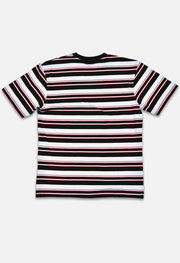 Retro Striped Black/White/Red Tee Back View