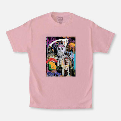 Wearable Art Tango Hotel Skull Drip Graphic Pink T-Shirt