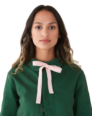 Velvet Bow Work Jacket - Evergreen